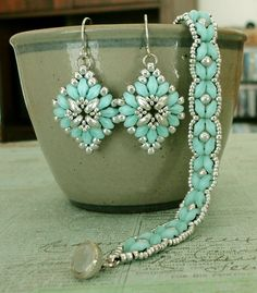Linda's Crafty Inspirations: SuperDuo Rosette Bracelet & Cute and Easy Earrings Set