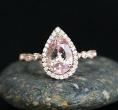 Pear 10x7mm Pink Morganite and Diamond Halo 14k by Twoperidotbirds