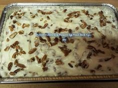 ELVIS PRESLEY CAKE   (Jail House Rock)  Ingredients: White cake mix 8oz can crushed pineapple 1 c. sugar 8oz pkg Cream Cheese 1/2 c. butter, softened 3 c. powdered sugar 1 tsp. vanilla 2-3 c crushed pecans  Directions: Bake a white cake, cool and poke holes in it. Boil crushed pineapple with juice and 1cup of sugar then pour over cool cake. In large bowl mix cream cheese, butter, powdered sugar. Add vanilla and crushed pecans, mix good and put on cake.