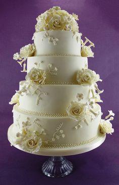 Classic Wedding Cake-Roses and Stephanotis - by TashasTastyTreats @ CakesDecor.com - cake decorating website