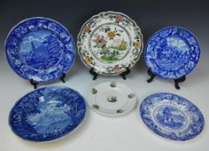 Collection of Antique Transfer Ware (6 pc) : Lot 0199