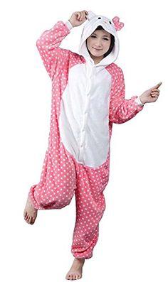 d8b06ea34d Dot Kitty Hot Unisex Adult Flannel Hooded Pajamas Sleepwear Cosplay Animal  Onesies Cartoon Cute Pajamas Sets For Men Women