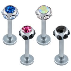 Gem Studded Labret Lip Ring - Body Jewelry at FreshTrends.com $5.99