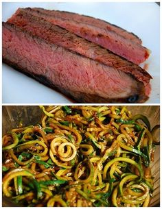Balsamic marinated London broil steak with pan-fried zucchini noodles by malinda