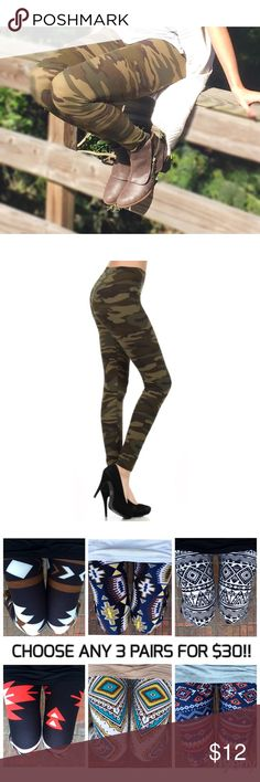 Army Green Camouflage Leggings S M L CHOOSE 3 PAIRS FOR $30!  Army Green Camouflage leggings.  92% Polyester 8% Spandex Blend.  Available in one size fits most sizes XS-XL.  ARRIVING WEDNESDAY/SHIPPING THURSDAY!  3/$30 CANNOT BE COMBINED WITH ANY OTHER DISCOUNTS.  No Trades, Price Firm unless Bundled.  BUNDLE 3 OR MORE ITEMS FOR 15 % OFF. Boutique Pants Leggings