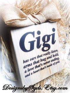 Happy Mothers Day Quotes : Gigi Sign Wood Block Sign Personalize Nana Mimi by DesignsBySyds - Quotes Boxes Mothers Day Signs, Diy Mothers Day Gifts, Mother Day Gifts, Gifts For Mom, Grandparents Day Gifts, Grandparent Gifts, Grandma Gifts, Happy Mother Day Quotes, Happy Mothers