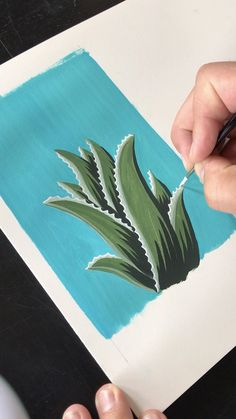 This is a gouache painting of an Aloe Vera plant by Philip Boelter. Have you ever tried painting with gouache? It's similar to watercolor, but gouache it's m. Cute Canvas Paintings, Diy Canvas Art, Easy Paintings, 3 Canvas Painting Ideas, Small Canvas Art, Simple Acrylic Paintings, Acrylic Art, Acrylic Painting Canvas, Gouache Painting