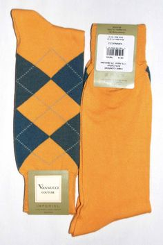 Yellow Grey Argyle Mens Dress Sock - Vannucci.  I might see if I could find you some of these...