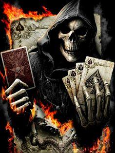 Poker Tattoo, Death Reaper, Grim Reaper Art, Skull Tattoos, Sleeve Tattoos, Rabe Tattoo, Demon Tattoo, Samurai Tattoo, Beautiful Dark Art