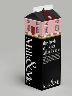 Clever milk packaging by A Beautiful Design / graphic design packaging Milk Packaging, Pretty Packaging, Brand Packaging, Packaging Design, Branding Design, Dairy Packaging, Smart Packaging, Fashion Packaging, Branding Iron