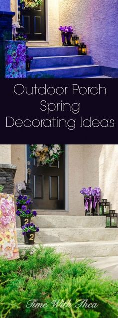Outdoor Porch Spring Decorating Ideas ~ A collection of beautiful and simple to make ideas to decorate your outdoor front porch for the spring season. / timewiththea.com