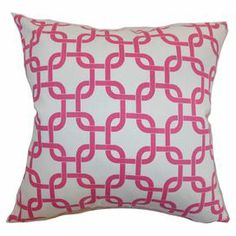 "Showcasing a links motif in candy pink, this down-filled cotton pillow adds a pop of pattern to your sofa or favorite arm chair.  Product: PillowConstruction Material: Cotton cover and polyester fillColor: White and candy pinkFeatures:  Insert includedHidden zipper closureMade in the USA Dimensions: 18"" x 18""Cleaning and Care: Spot clean"