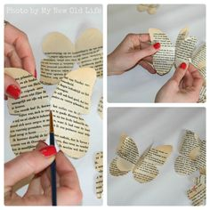My New Old Life: Mademoiselles des ideès: Tutorial Chiavi Alate Butterfly Project, Butterfly Template, Butterfly Decorations, Butterfly Crafts, Flower Template, Crown Template, Butterfly Mobile, Heart Template, Old Book Crafts