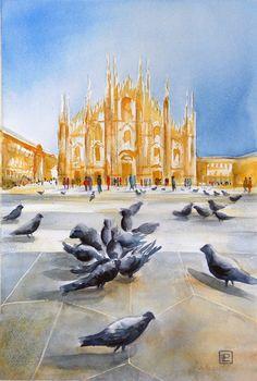 """"""" Il Duomo e i piccioni ,Milano"""" acquerello di Lorenza Pasquali Paintings 30x45 www.lorenzapasquali.it  Copyright © Lorenza Pasquali —"""