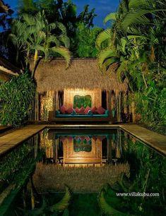 The stunningly beautiful tropical pools in Bali - My Cosy Retreat Tropical Pool, Tropical Landscaping, Tropical Houses, Tropical Garden, Gazebo, Pergola, Cabana, Balinese Garden, Beach House Decor