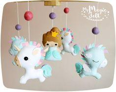 Baby mobile unicorn Baby mobile princess and unicorn Crib mobile unicorn and…