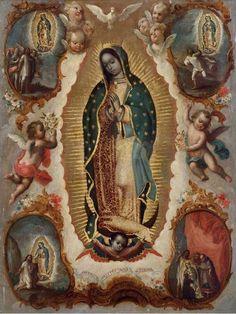 Anónimo, Virgen de Guadalupe con las cuatro apariciones, óleo sobre tela, sin medidas, 1771, colección particular, catalogación: Juan Carlos Cancino.