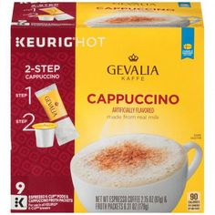 Gevalia Kaffe 2 Step Espresso Real Milk Cappucino Coffee K-Cups Keurig Hot One Cup Coffee Maker, Coffee K Cups, Coffee Mug Sets, Coffee Shops, Cappuccino Maker, Cappuccino Coffee, Cappuccino Machine, Gevalia Coffee, Cheap Coffee