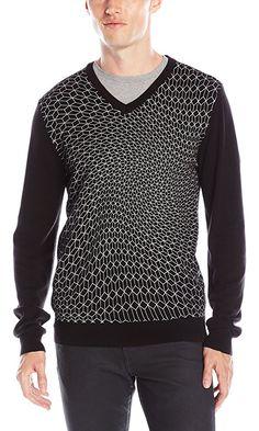 Calvin Klein Men's Slim Fit Reflective Printed V-Neck Sweater, Black Combo, X-Large Best Price