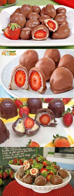 Trufa de Morango #TrufadeMorango #Trufa #Receitatodahora Candy Recipes, Sweet Recipes, Dessert Recipes, Food Wishes, Perfect Food, Diy Food, Food Hacks, Love Food, Appetizer Recipes