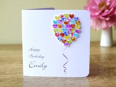 Handmade 3D Birthday Card Personalised Colourful Balloons Custom Name Greetings