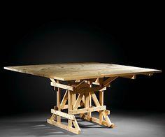 Enzo MARI (Né en 1932) Table carré I - création 1974 Pin naturel