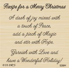 Merry Christmas Recipe Greeting Rubber Stamp by DRS Designs Christmas Card Verses, Christmas Card Messages, Christmas Sentiments, Card Sentiments, Holiday Cards, Christmas Cards, Christmas Prayer, Christmas Thoughts, Images Vintage