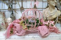 Cinderella carriage shabby chic pink home decor candle large wire pumpkin with roses and ribbon Anita Spero Love Love