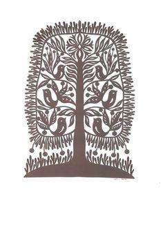 Autumn Tree original paper-cut  12*16 inch. (30*40 cm) 2015y. Odeta Tumėnaitė-Bražėnienė (born in 1964) is Lithuanian folk artist, creator of