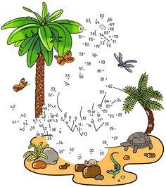 Ausmalbild Malen nach Zahlen: Malen nach Zahlen: Dinosaurier kostenlos ausdrucken