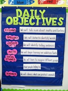 I really like this daily objectives pocket chart for the classroom. It lets students know their objectives for the day and also any visitors (like the Principal) that come into the classroom see what the students are doing. Classroom Organisation, Teacher Organization, Kindergarten Classroom, School Classroom, Classroom Management, Classroom Ideas, Classroom Design, Future Classroom, Organised Teacher