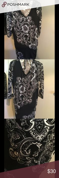 ❤️WHBM Dress❤️ Silky pull over with rouched sides .. V neck and back with drawstring to tighten on back of neck or upper back area.. 95% polyester 5% spandex.. Pics don't do justice White House Black Market Dresses Asymmetrical