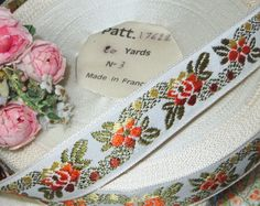 "1y VTG 3//4/"" FRENCH JACQUARD RIBBON PINK OMBRE ROSE FLOWER TRIM VTG ANTQ BROCADE"
