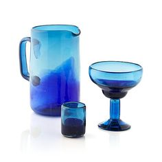 Salud Azul Pitcher in Pitchers & Decanters | Crate and Barrel