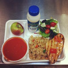 Tomato soup, chicken with brown rice, fresh garden salad, an apple and low-fat milk from Burlington, VT schools...looks delectable!