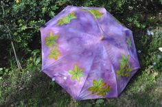 """Umbrella parasol """" Yellow on the Violet"""" fog,lilac,rose-colored,yellow-gold Umbrella Painting, Lilac Roses, The Violet, Umbrellas Parasols, Unique Gifts, Handmade Gifts, Hamsa, Etsy Shop, Trending Outfits"""