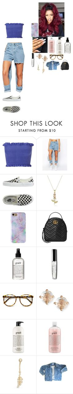 """""""checkered spice"""" by foodislyfe ❤ liked on Polyvore featuring Miss Selfridge, The Ragged Priest, Vans, Gucci, philosophy, Suzanne Kalan, Gioelli and GUESS"""