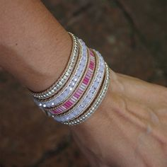 Pink mix beaded Wrap bracelet Bohemian bracelet by G2Fdesign