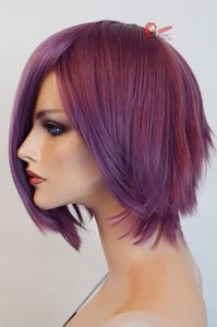 Psylocke short purple wig. Can be cut and waved appropriately.