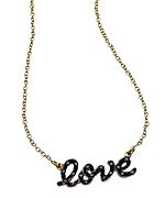 Kacey K Fine Jewelry Gold and Black Diamond Script 'love' Necklace