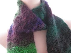 Knitted Scarf with Seafoam Stitch in Purple and Green by danie17, $30.00