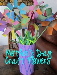 Mother's Day Craft Flowers. Easy for kids to make! Colors could be adapted for any holiday.