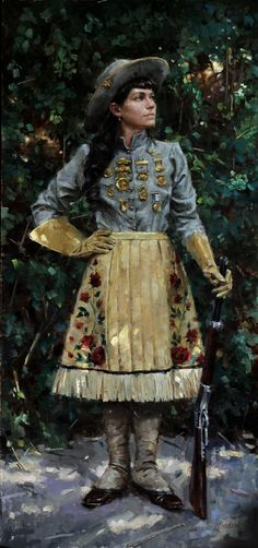 """""""Annie Oakley,"""" -- by Meadow Gist Vintage Cowgirl, Cowboy And Cowgirl, Cowgirl Baby, Annie Oakley Costume, Colonial, Annie Get Your Gun, Into The West, Le Far West, Native American Art"""