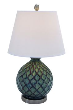 Stylish Sea Foam Green Wavelike Ceramic Table Lamp