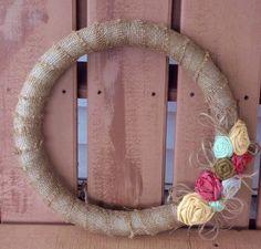 Burlap Wreath with Handmade Flowers by RosemaryTwine on Etsy, $30.00