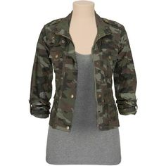 Rolled sleeve camo jacket ($44) ❤ liked on Polyvore featuring outerwear, jackets, tops, shirts, outer, camo jacket, camo print jacket, camoflauge jacket, camouflage jacket and camoflage jacket