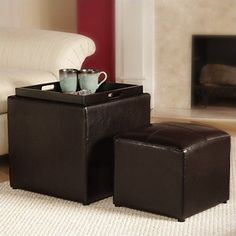 Convenience Concepts Designs4Comfort Park Avenue Single Ottoman with Stool Dark Espresso *** Visit the image link more details.