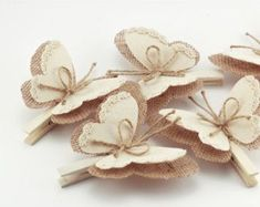 Set of 5 Clothes Pins with Butterfly Wings Burlap by MaliLili