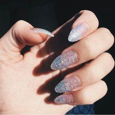 acrylic silver ombre stiletto nails