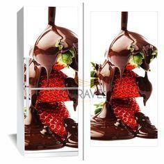 Αυτοκόλλητο Ψυγείου Φράουλες βουτηγμένες σε σοκολάτα
